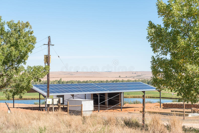 Solar power installation on a farm near Stormsvlei. STORMSVLEI, SOUTH AFRICA - MARCH 26, 2017: A solar power installation on a farm near Stormsvlei in the royalty free stock images