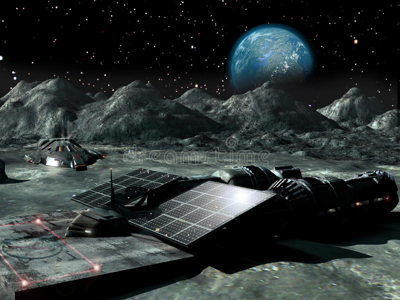Solar Power On The Moon Stock Illustration Illustration