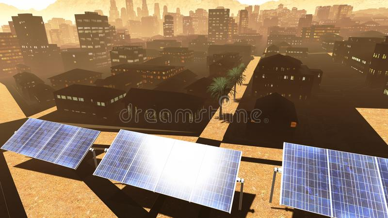 Download Solar power panels in city stock illustration. Image of city - 26826513