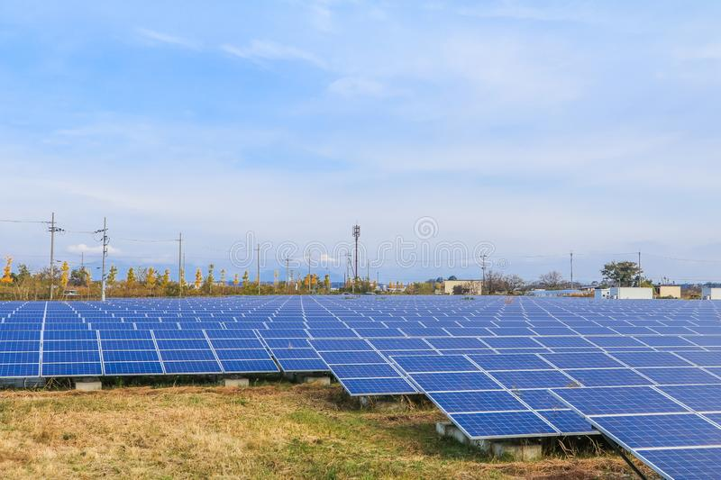 Solar power panels ,Photovoltaic modules for innovation green energy for life with blue sky background stock photos