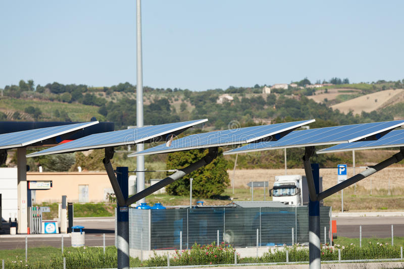 Solar power plant. On the road royalty free stock image