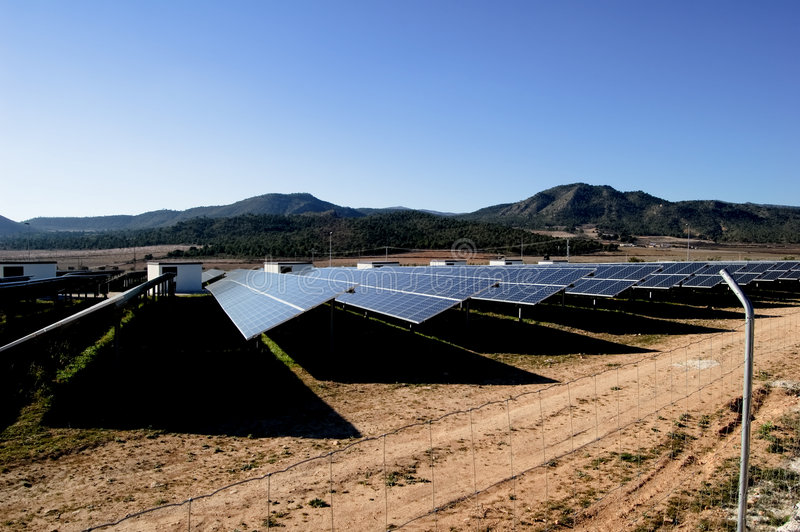 Solar power plant. Clean energy in Spain royalty free stock images