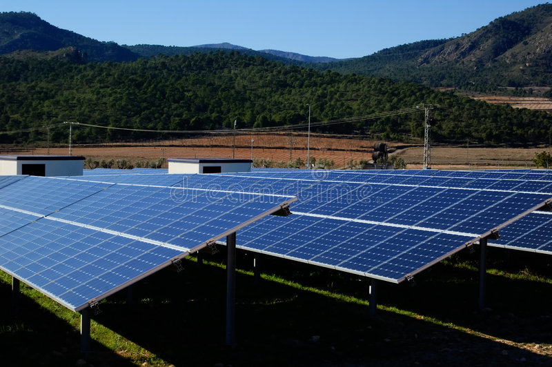Solar power plant. Clean energy in Spain royalty free stock photography