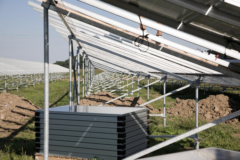 Solar power plant construction royalty free stock images