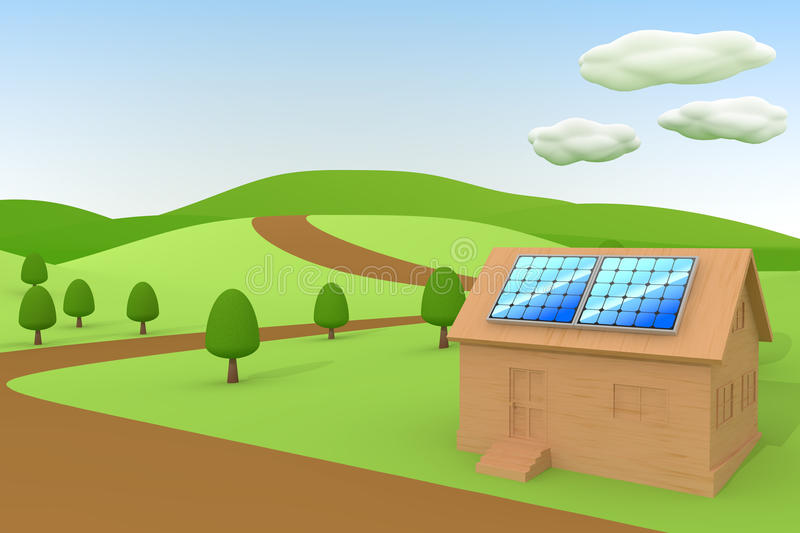 Solar power / Solar panels. 3DCG illustration of solar power. Clean image of the solar panels. Consider the nature and the environment. Image to the future vector illustration