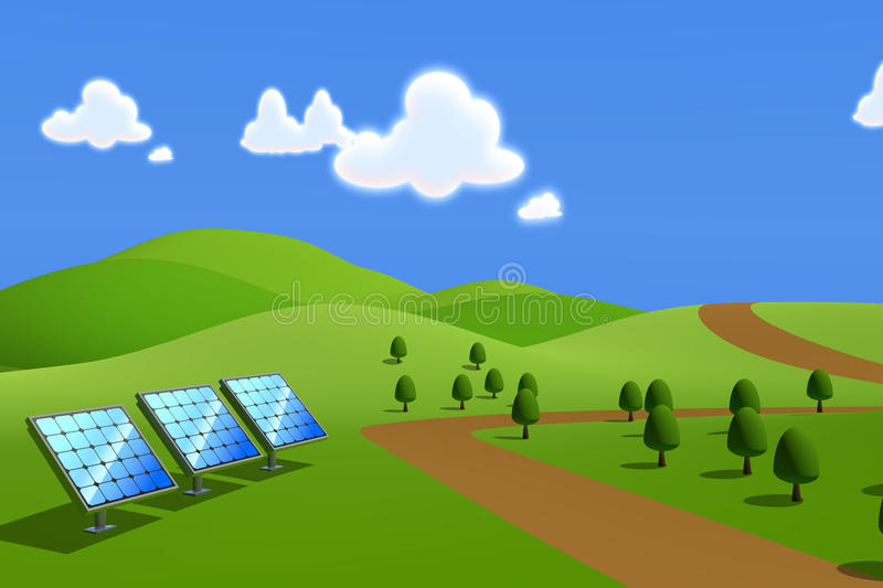 Solar power / Solar panels. 3DCG illustration of solar power. Clean image of the solar panels. Consider the nature and the environment. Image to the future stock illustration