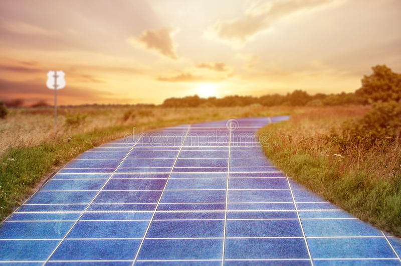 Download Solar Power Station In Blue Sky On The Road Stock Image - Image of plant, cell: 86114375