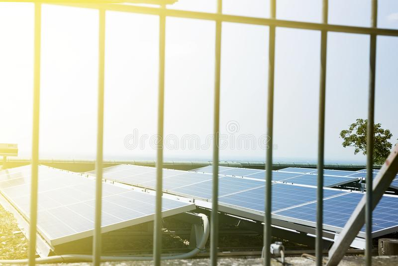 Solar power station new energy panel installation on roof stock image
