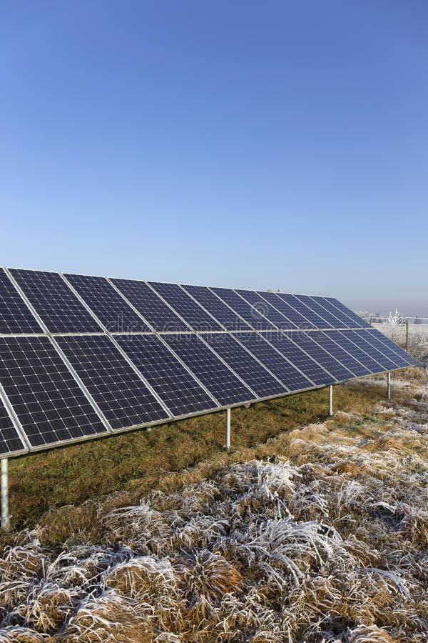 Download Solar Power Station In The Snowy Freeze Winter Nature Stock Image - Image: 83715063