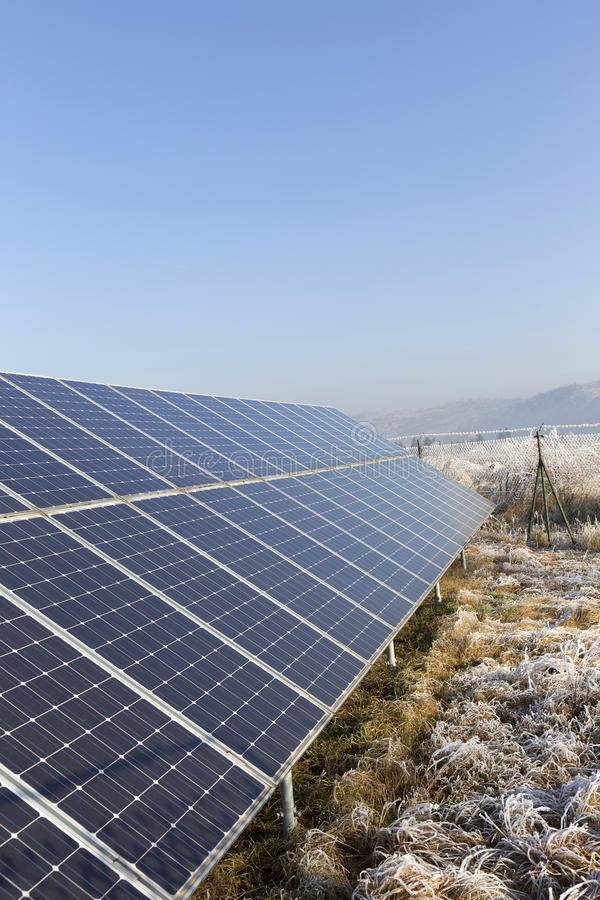 Download Solar Power Station In The Snowy Freeze Winter Nature Stock Photo - Image: 83715211