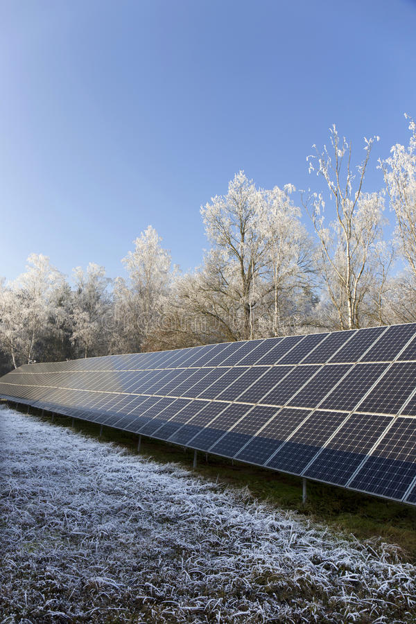 Download Solar Power Station In The Snowy Freeze Winter Nature Stock Photo - Image: 83715462