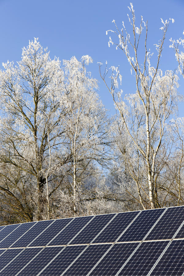 Download Solar Power Station In The Snowy Freeze Winter Nature Stock Photo - Image: 83715483