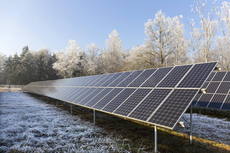 Download Solar Power Station In The Snowy Freeze Winter Nature Stock Photo - Image: 83715890