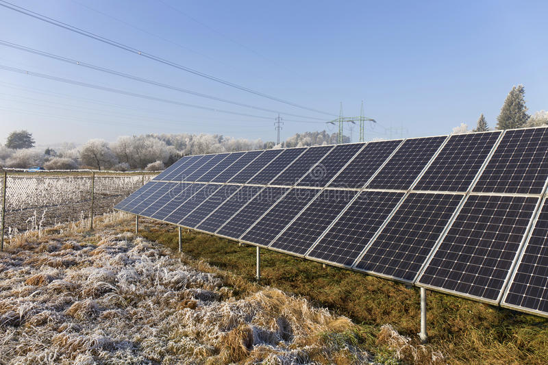 Download Solar Power Station In The Snowy Freeze Winter Nature Stock Image - Image: 83716311