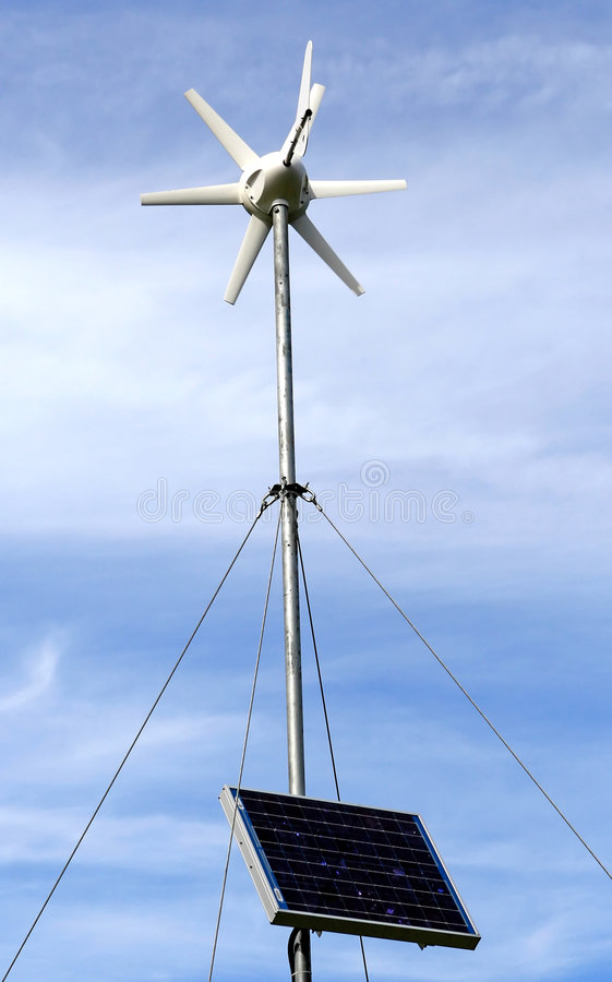 Solar Powered Environment Friendly Wind Turbine Royalty Free Stock Image