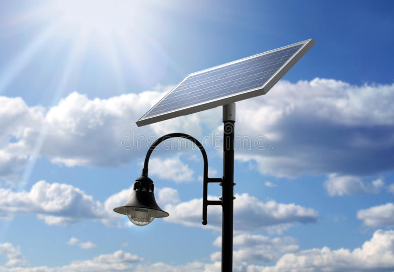 Solar powered lamp post. Photo of a Solar powered lamp post stock image
