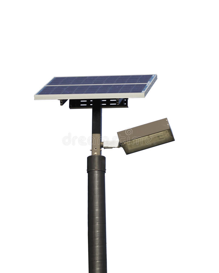 Free Solar Powered Street Light On White Stock Photo - 12259140