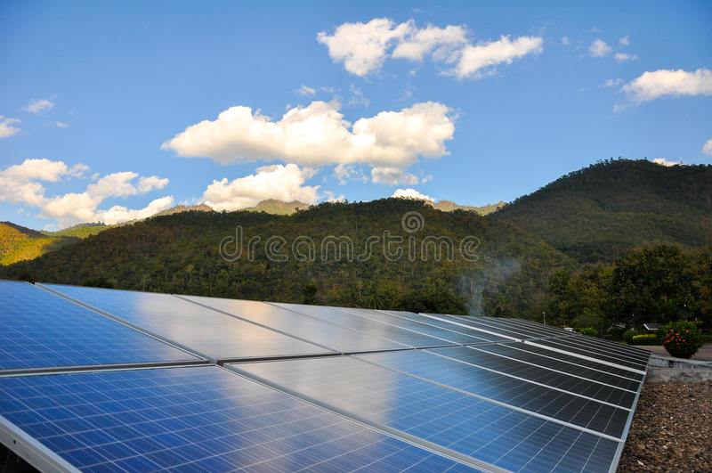 Solar PV with mountain in the background stock photo