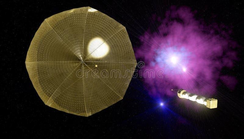 Solar Sail. Spaceship using Solar sail as propulsion royalty free illustration