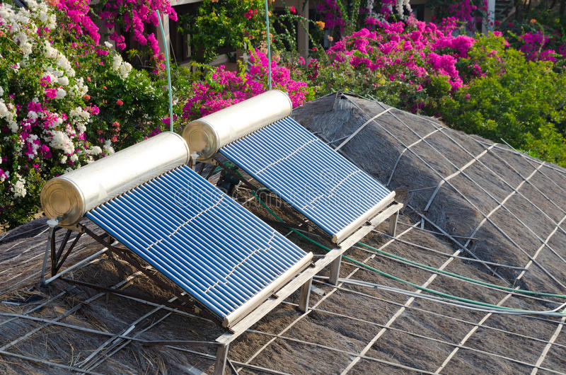 Solar water heating. Solar set for water heating at roof stock photo