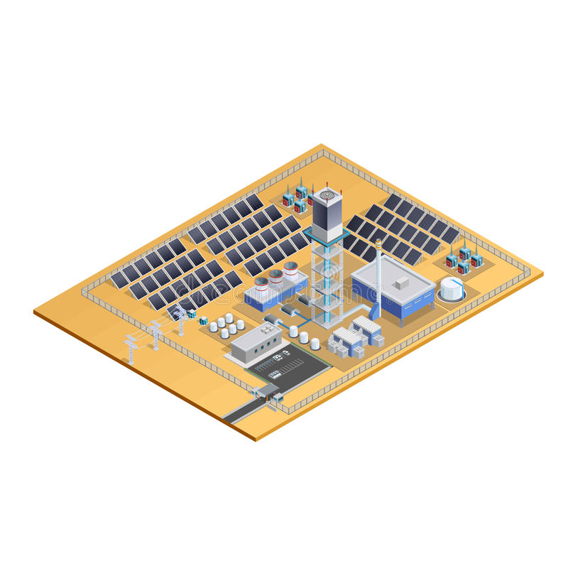 Solar Station Model Isometric Image stock illustration