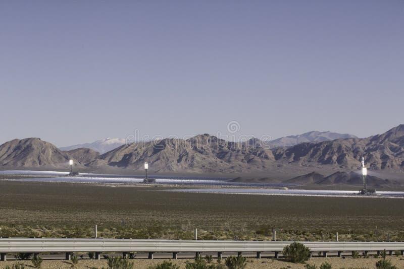 Solar station on Mojave desert near California Nevada border stock photo