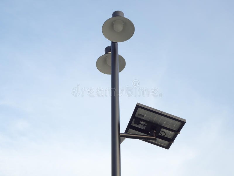 Solar street light with sky. royalty free stock images