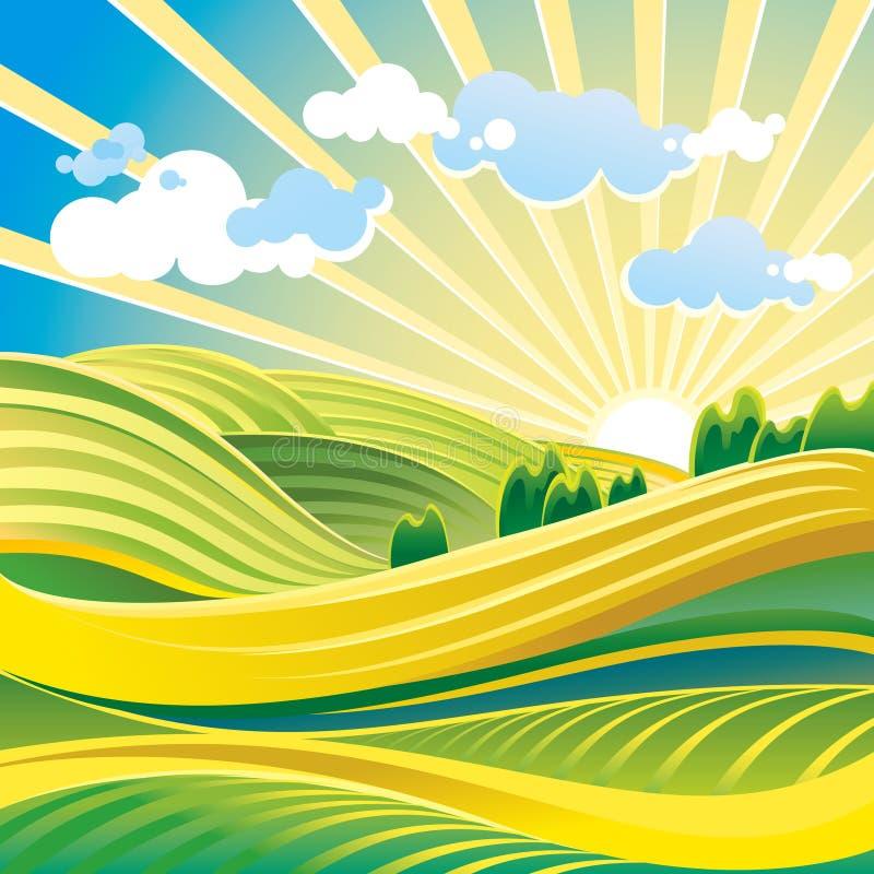 Solar summer landscape stock illustration
