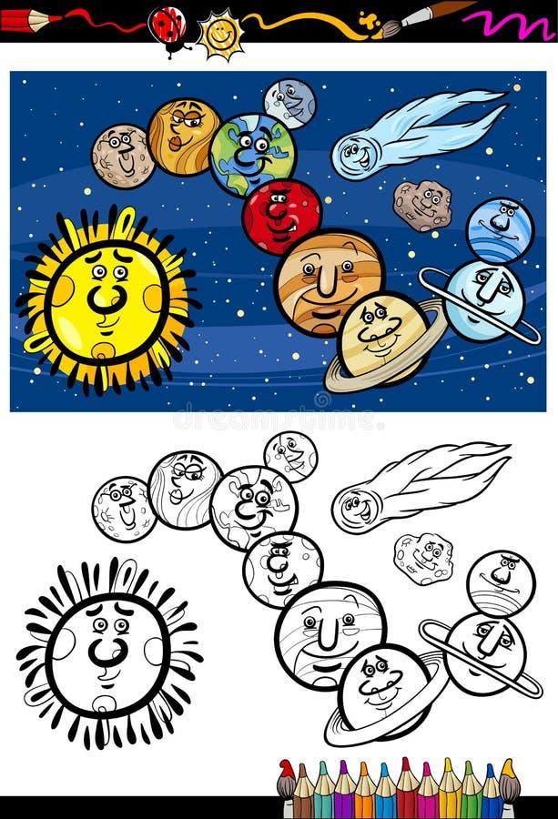 Solar System Cartoon Coloring Book Stock Vector - Illustration of ...
