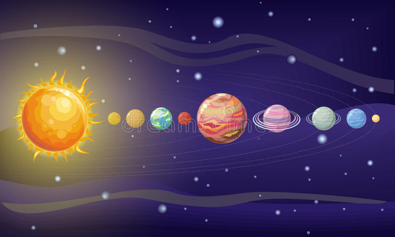 Download Solar System Design Space With Planets And Stars Stock Vector