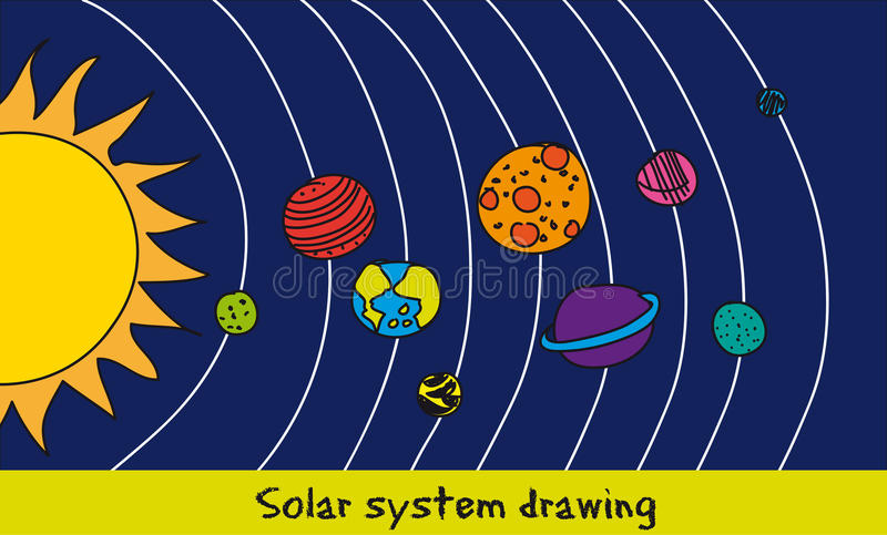 Download solar system drawing stock vector illustration of globe 24046036