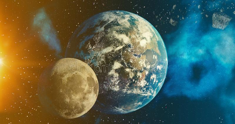 The solar system Earth and Moon  planet concept over galactic background  Earth and Moon and Milky Way solar system planets stock illustration
