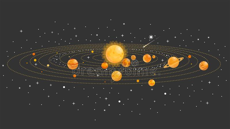 Solar system with isolated planets. Vector flat illustration. Infographics. royalty free illustration