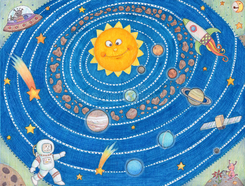 Solar System For Kids. royalty free stock images
