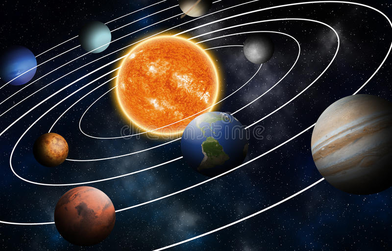 Solar system model, Elements of this image furnished by NASA. Solar system model, Elements of this image furnished by NASA vector illustration