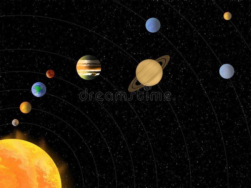Solar System without Names of Planets royalty free illustration