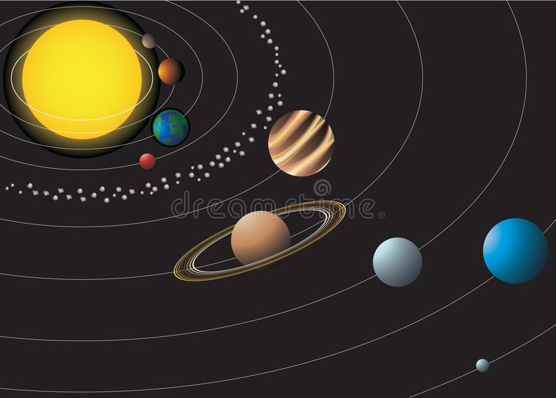 Solar System With Nine Planets Stock Images