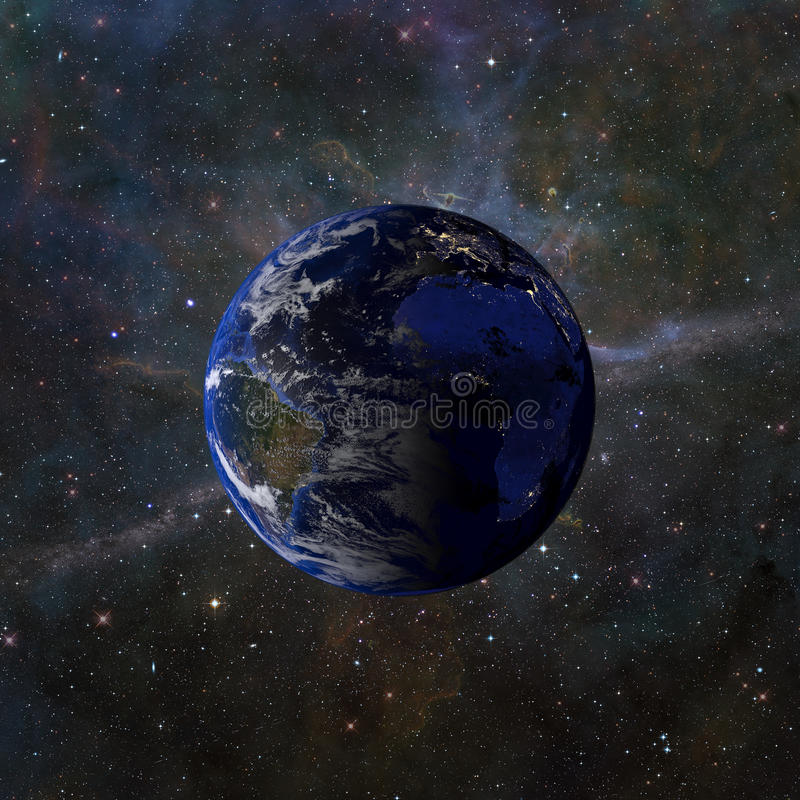 Solar system planet Earth on nebula background 3d rendering. Elements of this image furnished by NASA royalty free illustration