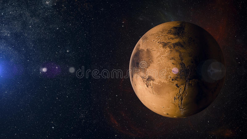 Solar system planet Mars on nebula background 3d rendering. royalty free illustration