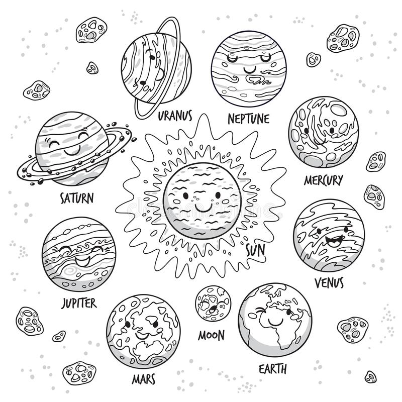 Solar system. Planets character set in cartoon style vector illustration