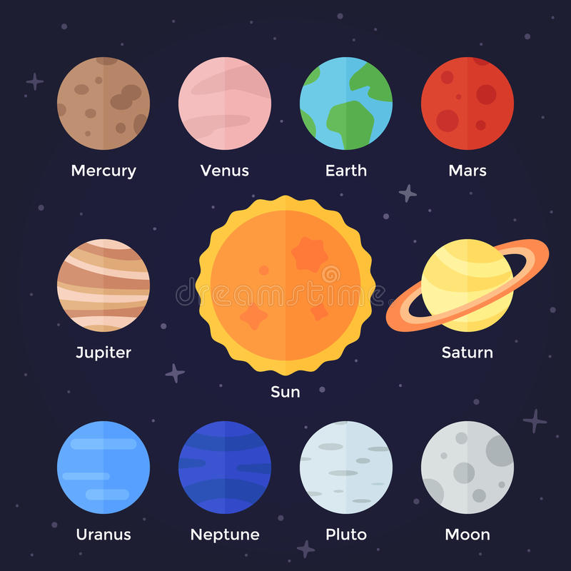 Solar System Planets Icons stock illustration
