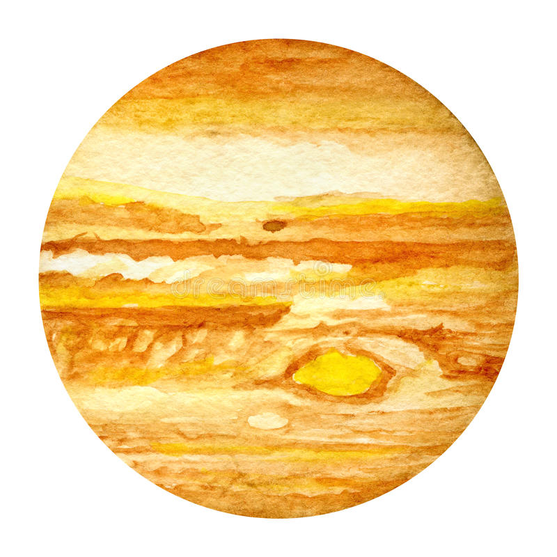 Solar System Planets - Jupiter. Watercolor illustration. royalty free stock images