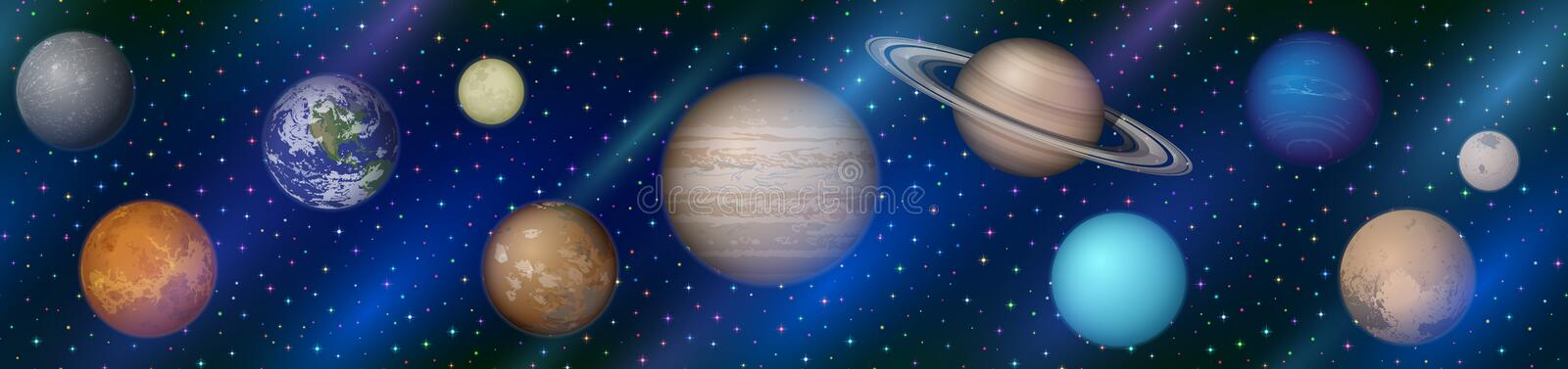 Solar System Planets, Seamless royalty free illustration