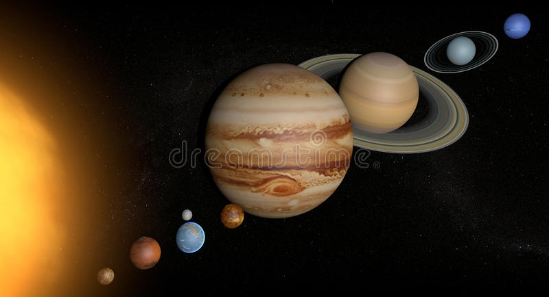 Solar System planets space universe sun vector illustration
