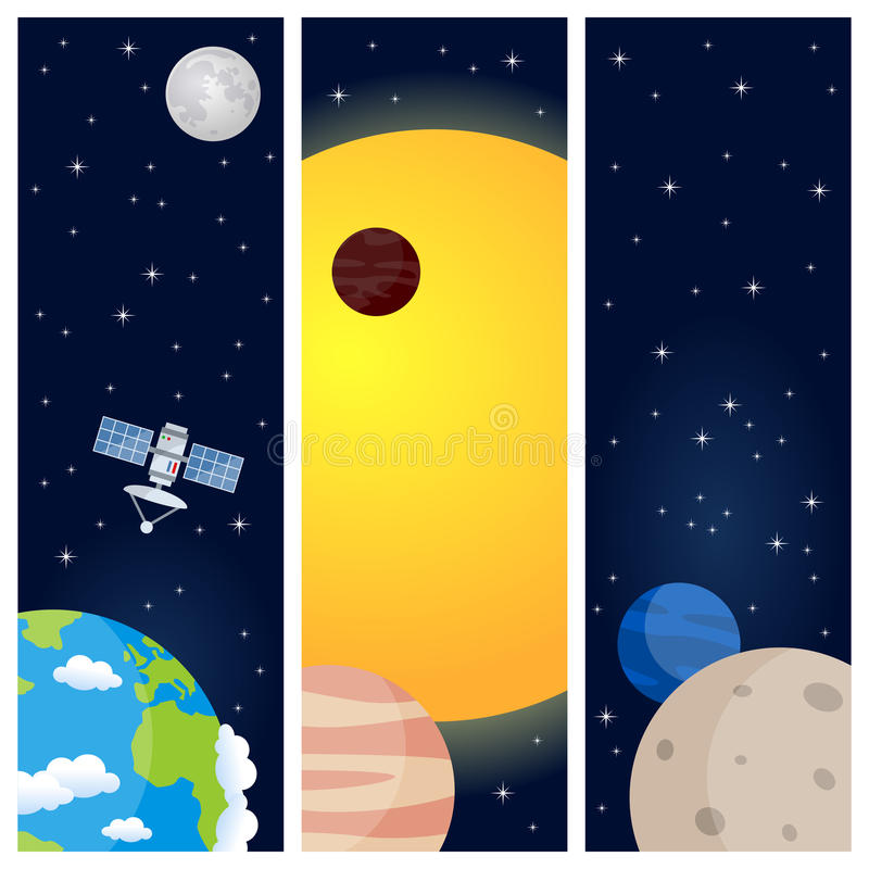 Solar System Planets Vertical Banners stock illustration