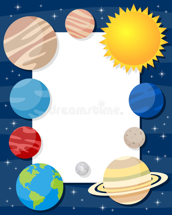 Solar System Planets Vertical Frame. Vertical photo frame with the eight planets of the solar system with the Sun and the Moon, on a blue outer space background vector illustration