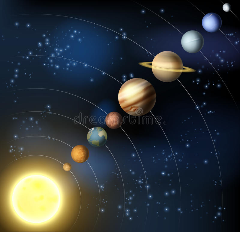 Solar system from space vector illustration