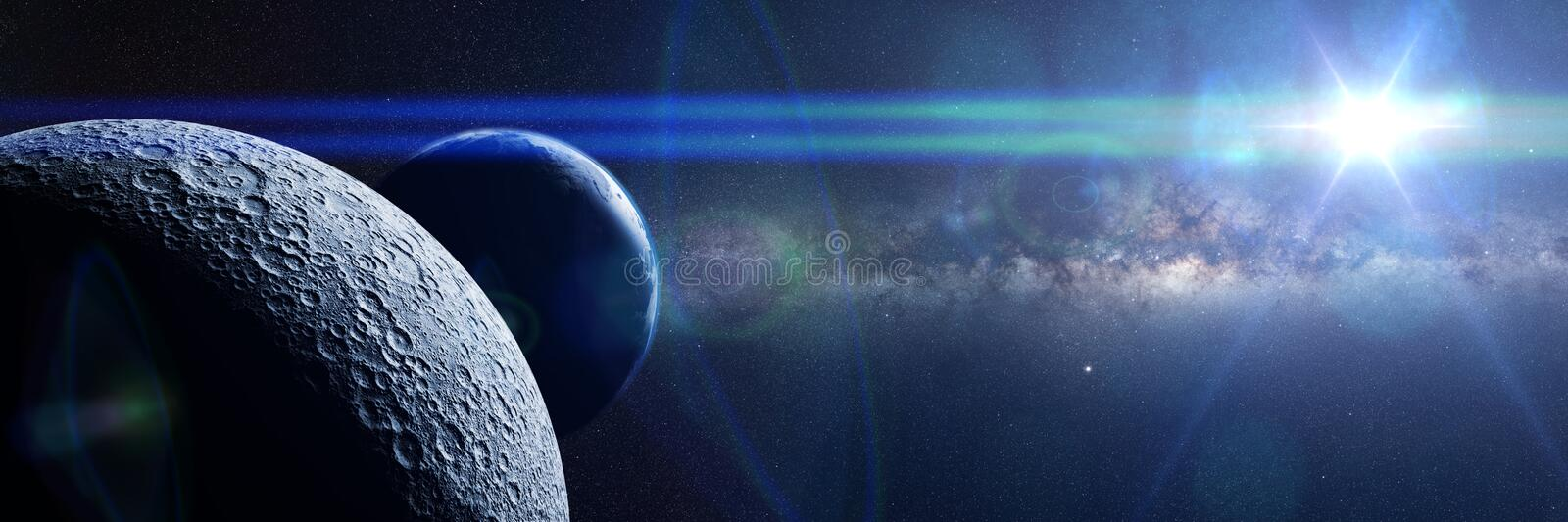 Moon in front of Earth, the bright Sun and the Milky Way galaxy royalty free stock photos
