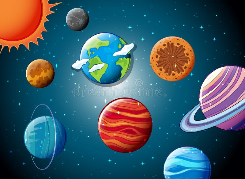 Solar system in the space vector illustration
