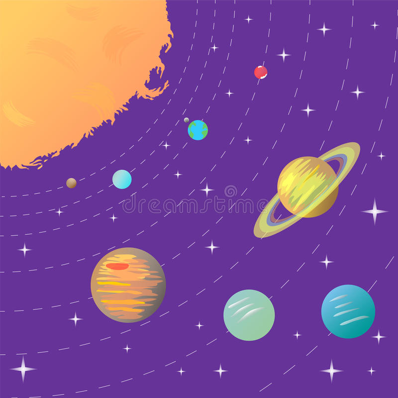 Solar System. Sun and Planets on Starry Background. Perfect for Print. royalty free illustration